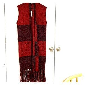 Black and Red Cardigan Sweater Vest